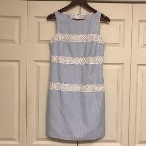 Seersucker dress with crocheted trim